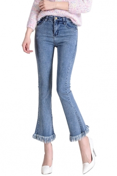 Womens Retro Slimming Tassel Bell Bottom Jeans Light Blue