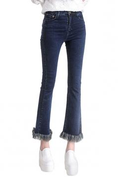 Womens Retro Slimming Tassel Bell Bottom Jeans Navy Blue