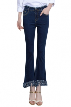 Womens Slimming Tassel Ankle Length Jeans Blue