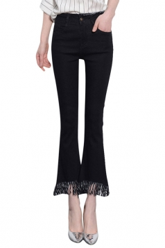 Womens Slimming Tassel Ankle Length Jeans Black