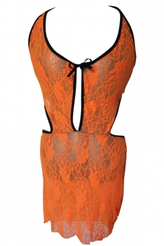 Womens Plus Size Halter Sheer Lace Babydoll Orange