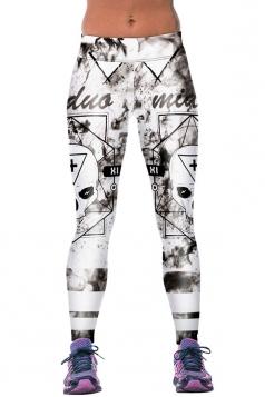 Womens Fitness Skull Printed Sports Leggings White