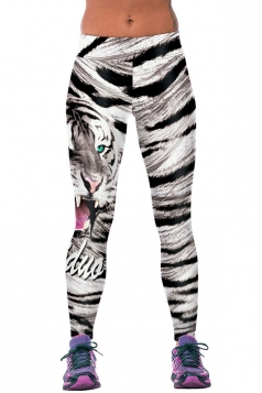 Womens Fitness Tiger Printed Sports Leggings Watermelon Red