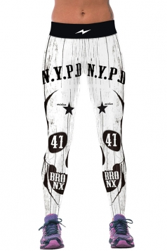 Womens Fitness Letters Printed Sports Leggings White