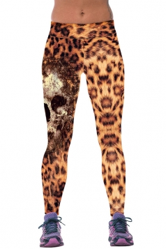 Womens Fitness Leopard Printed Sports Leggings Yellow