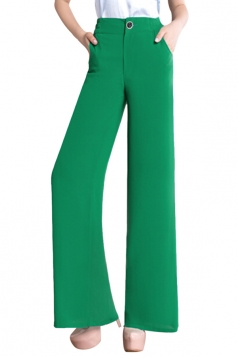 Womens Slimming Plain High Waisted Palazzo Leisure Pants Green