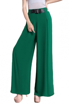 Womens High Waisted Belt Decor Palazzo Leisure Pants Green