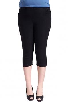 Womens Plus Size Plain Capri Leggings Black
