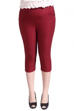 Womens Plus Size Plain Capri Leggings Ruby