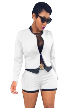 Womens Long Sleeve Faux Leather Patchwork Shorts Set White