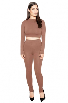 Womens Sexy Plain Long Sleeve Crop Top Sports Pants Set Coffee