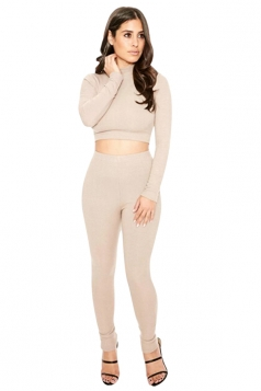 Womens Sexy Plain Long Sleeve Crop Top Sports Pants Set Khaki