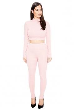 Womens Sexy Plain Long Sleeve Crop Top Sports Pants Set Pink