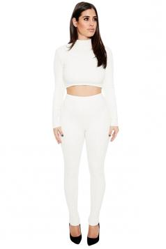 Womens Sexy Plain Long Sleeve Crop Top Sports Pants Set White