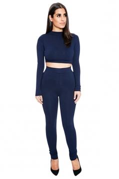 Womens Sexy Plain Long Sleeve Crop Top Sports Pants Set Navy Blue