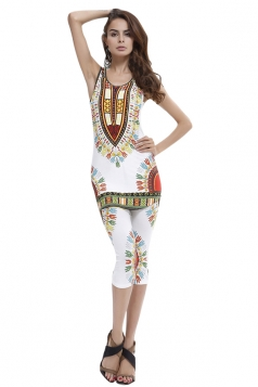 Womens Exotic Tribal Printed Tank Top & Pants Suit White
