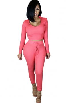 Womens Plain Hooded Long Sleeve Crop Top & Pants Set Pink