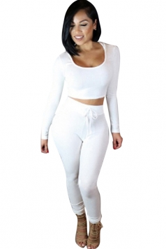 Womens Plain Hooded Long Sleeve Crop Top & Pants Set White