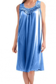 Womens Chic Sleeveless Lace Trim Splicing Tank Sleepwear Blue