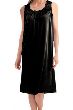 Womens Chic Sleeveless Lace Trim Splicing Tank Sleepwear Black