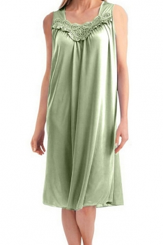 Womens Chic Sleeveless Lace Trim Splicing Tank Sleepwear Light Green