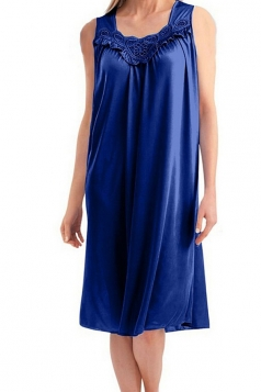 Womens Chic Sleeveless Lace Trim Splicing Tank Sleepwear Sapphire Blue