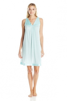Womens Plain V Neck Sleeveless Tank Sleepwear Light Blue