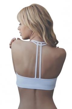 Womens Plain Double-string Sports Bra White