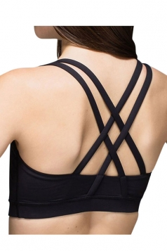 Womens Plain Double Criss Cross Straps Sports Bra Black