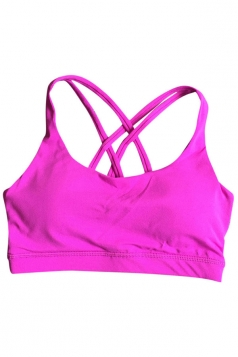 Womens Plain Double Criss Cross Straps Sports Bra Rose Red