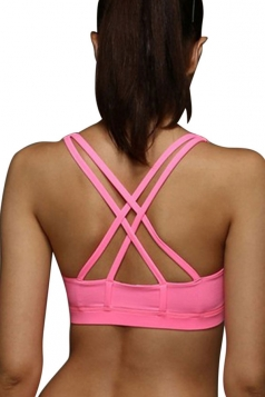 Womens Plain Double Criss Cross Straps Sports Bra Pink