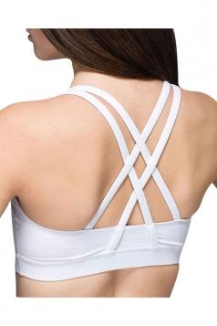 Womens Plain Double Criss Cross Straps Sports Bra White
