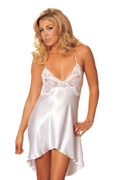 Womens Sexy Spaghetti Straps Lace Splicing Babydoll White