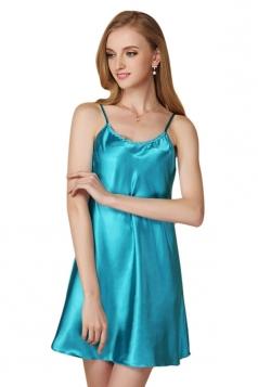 Womens Sexy Plain Spaghetti Straps Nightshirt Blue