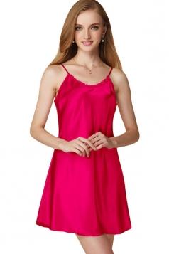 Womens Sexy Plain Spaghetti Straps Nightshirt Rose Red