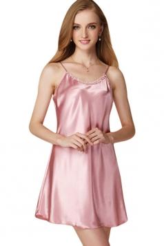 Womens Sexy Plain Spaghetti Straps Nightshirt Pink