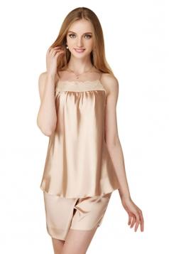 Womens Lace Patchwork Spaghetti Straps Shorts Pajama Set Beige