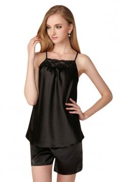 Womens Lace Patchwork Spaghetti Straps Shorts Pajama Set Black