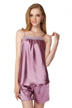 Womens Lace Patchwork Spaghetti Straps Shorts Pajama Set Light Purple