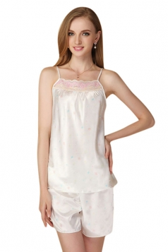 Womens Spaghetti Straps Lace Patchwork Shorts Pajama Set White