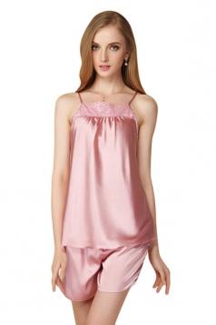 Womens Lace Patchwork Spaghetti Straps Shorts Pajama Set Pink