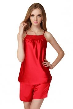 Womens Lace Patchwork Spaghetti Straps Shorts Pajama Set Red