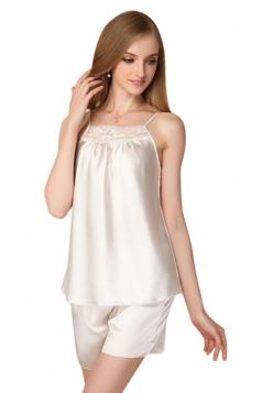 Womens Lace Patchwork Spaghetti Straps Shorts Pajama Set White