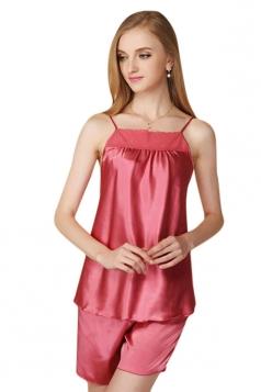 Womens Lace Patchwork Spaghetti Straps Shorts Pajama Set Ruby