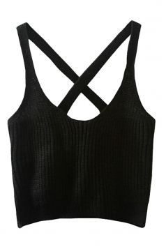 Womens Sexy Plain Crochet Cross Back Camisole Top Black