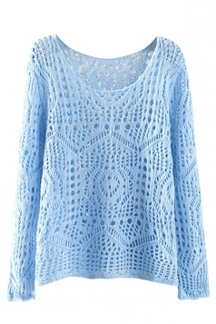 Womens Casual Crochet Hollow Out Long Sleeve Pullover Sweater Blue