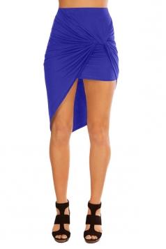 Womens Slimming Plain Irregular Hem Pencil Skirt Blue