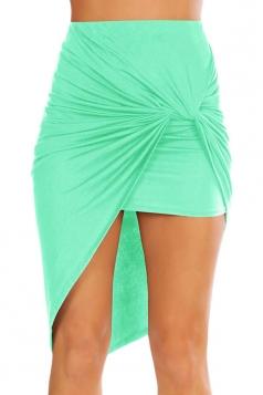 Womens Slimming Plain Irregular Hem Pencil Skirt Green