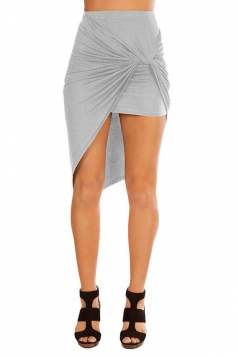 Womens Slimming Plain Irregular Hem Pencil Skirt Gray