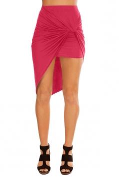 Womens Slimming Plain Irregular Hem Pencil Skirt Rose Red